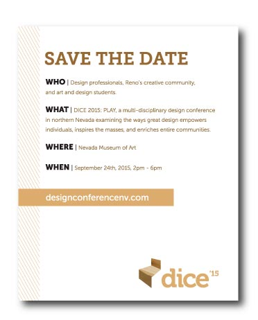 DICE 15 Save the Date by Stan Can Design