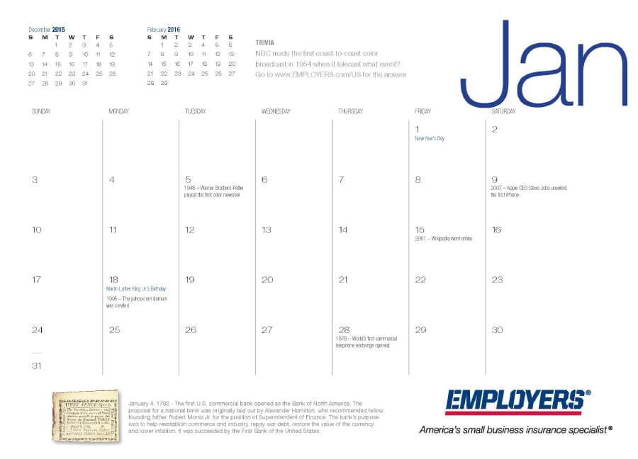 EMPLOYERS 2016 Calendar Inside Month