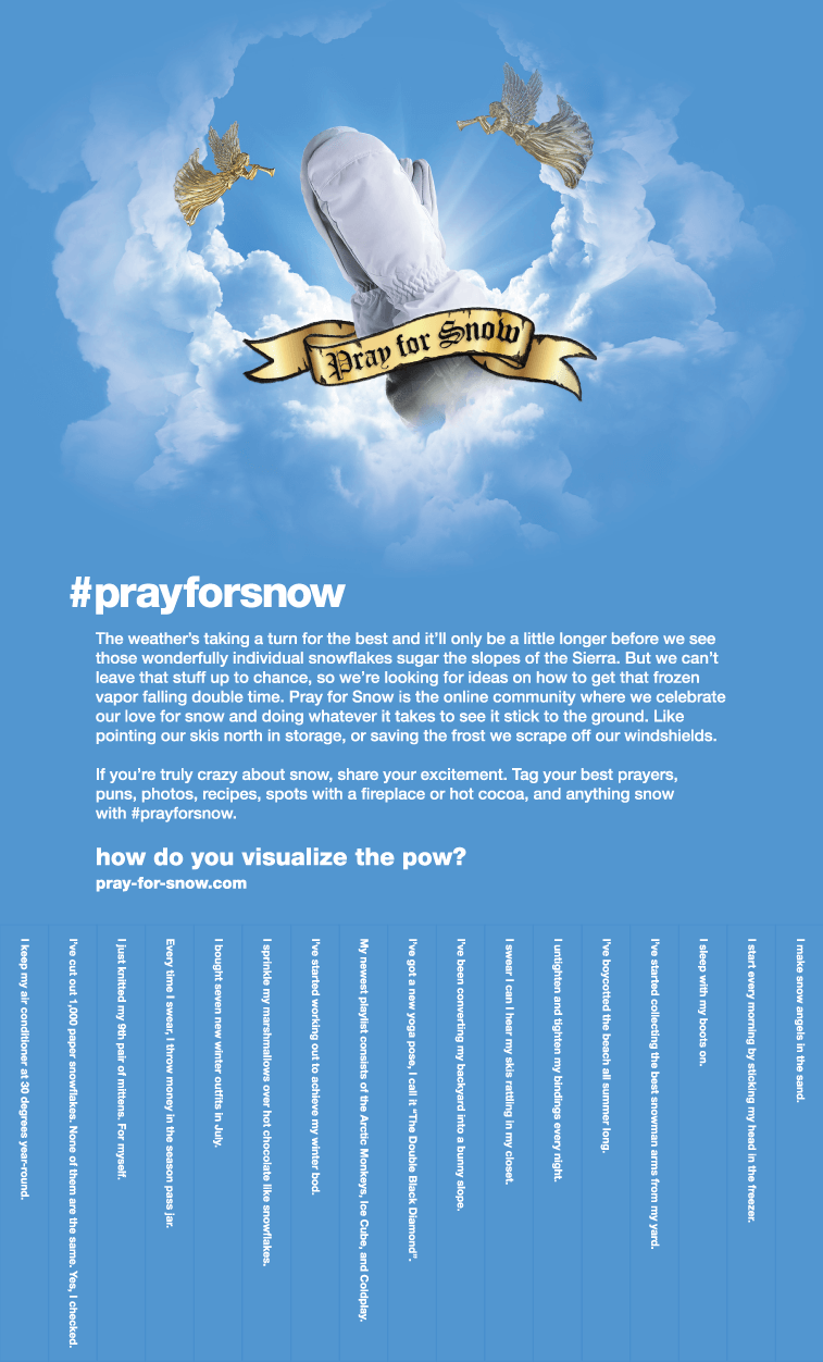 Pray For Snow Pull Tab Poster