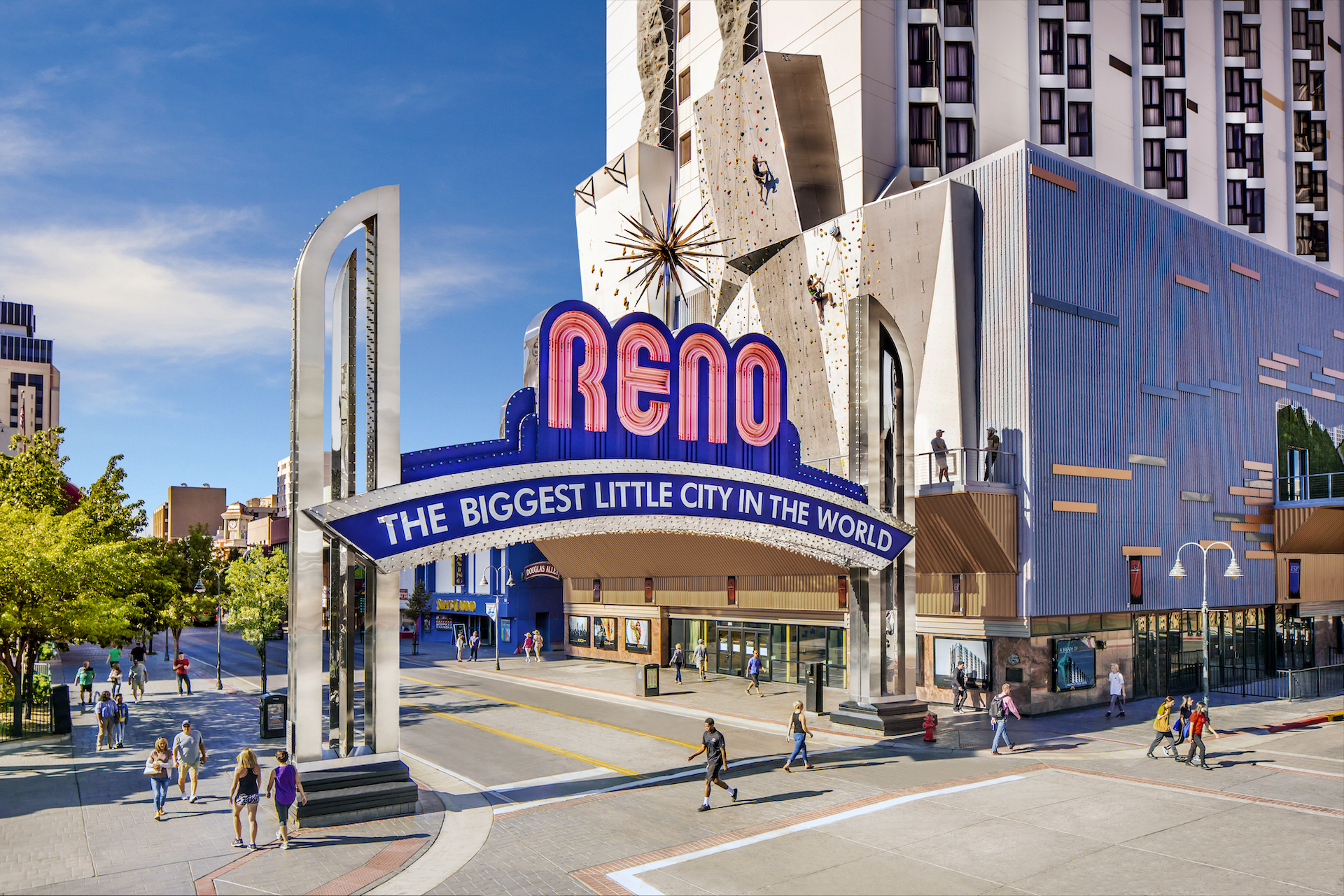 Photo of the Reno Arch in the Morning